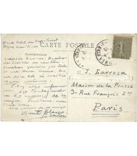 BLASCO IBANEZ Vicente. Ecrivain espagnol. Carte postale autographe, 1918 (Réf. G 4579)