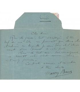 BAUR (Harry)  Télégramme A.S. à monsieur Delautel