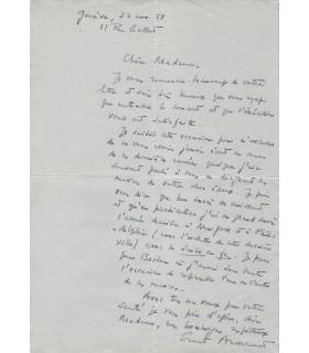 ANSERMET (Ernest) L.A.S. à Mme Albert Roussel
