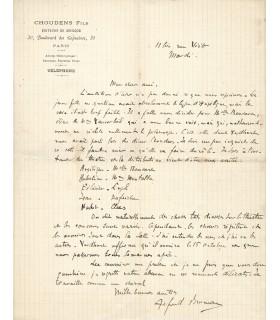 BRUNEAU Alfred. Compositeur, ami de Zola. Lettre autographe (Réf. G 3034)