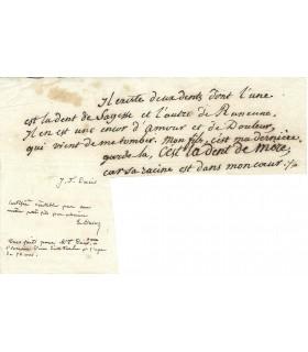 DUCIS (Jean-François). écrivain. Poème autographe (G 422)