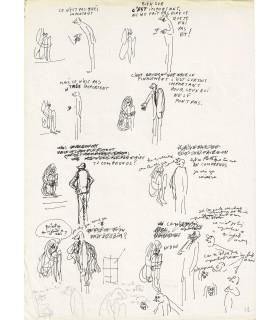 WOLINSKI Georges, dessin au feutre avec annotations manuscrites