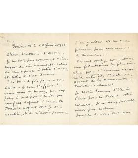 FALLA (Manuel de), à Dolorès de Silvera, 22 février 1923.