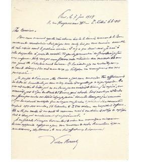 BASCH Victor.  Universitaire. Lettre autographe (1934) (Réf. G 2636)