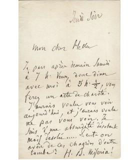 BERLIOZ Hector. Compositeur. Lettre autographe à Stepehn Heller  (Réf. G 4812)