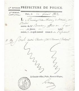 [EMPIRE] PREFECTURE DE POLICE DOC. en partie imprimée. G 5053